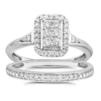 9ct White Gold 1/3ct Diamond Perfect Fit Bridal Set - Product number 8479100