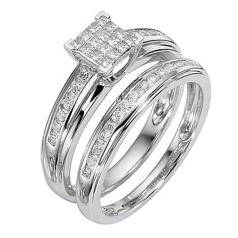 9ct white gold 1/2ct diamond cluster bridal ring set - Product number 8487944