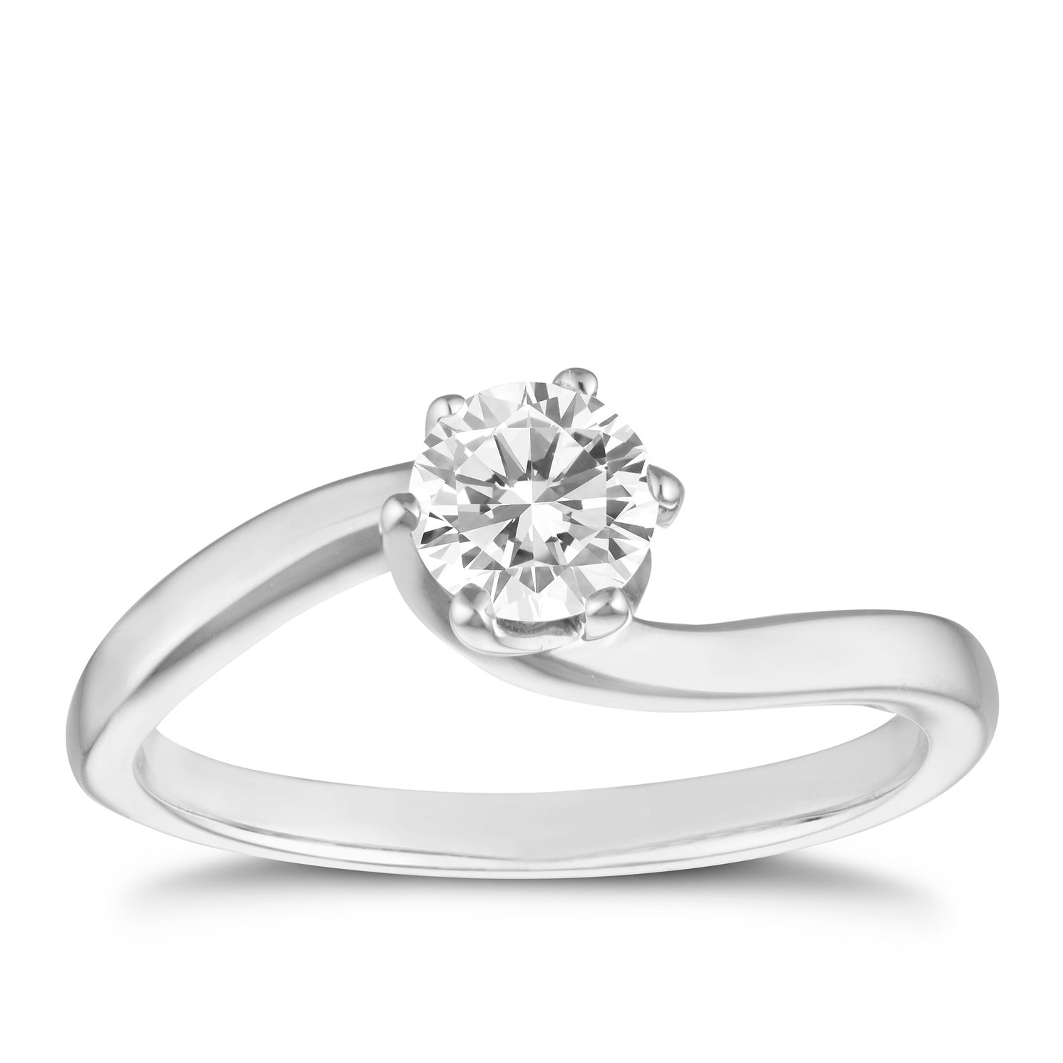 9ct White Gold 1/2ct Diamond 6 Claw Solitaire - Product number 8490147