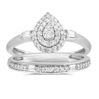 Perfect Fit 9ct White Gold 1/3ct Diamond Pear Bridal Set - Product number 8492638