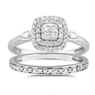 9ct White Gold 1/3ct Diamond Cushion Perfect Fit Bridal Set - Product number 8495599