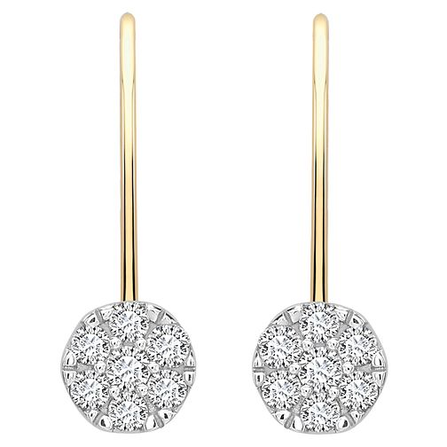9ct gold fifth carat diamond cluster earrings - Product number 8496064
