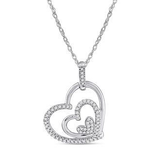 Silver 0.12ct Diamond Triple Heart Pendant - Product number 8496242