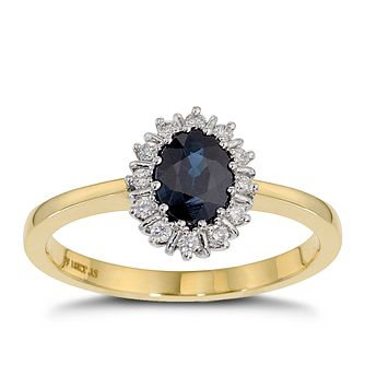 18ct Yellow Gold Sapphire & 0.15ct Diamond Ring - Product number 8497702