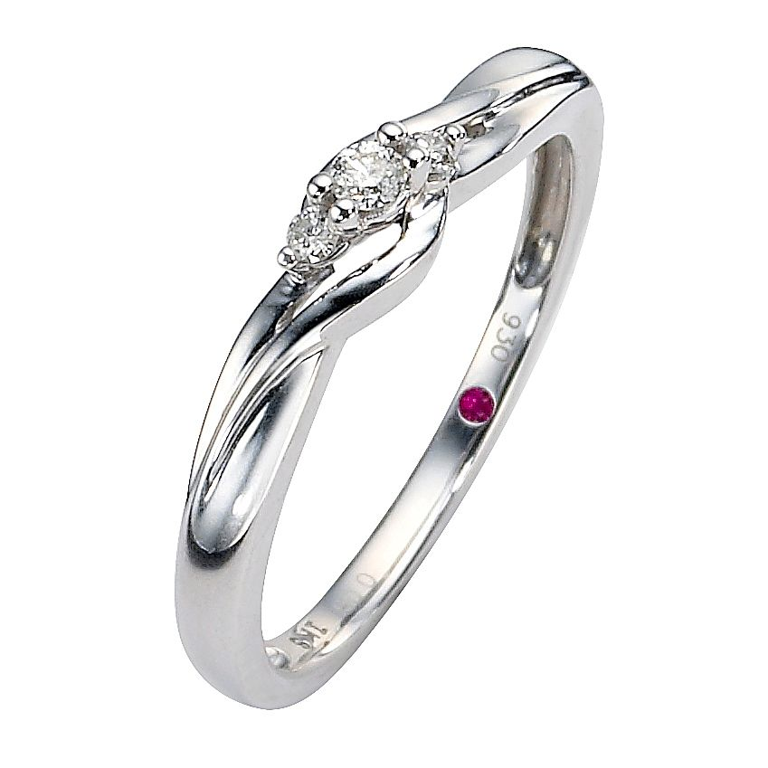 Cherished Argentium Silver Three Stone Diamond Twist Ring - Product number 8498768