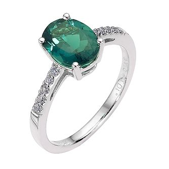 9ct White Gold Created Emerald & 0.15ct Diamond Ring - Product number 8499950