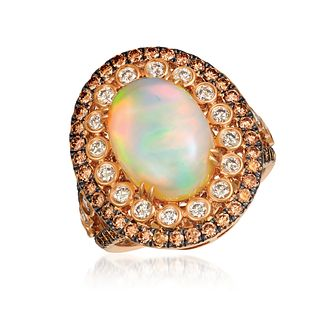 Le Vian 18ct Strawberry Gold Neopolitan Opal & Diamond Ring - Product number 8501890