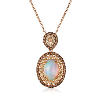 Le Vian 18ct Strawberry Gold Neopolitan Opal Diamond Pendant - Product number 8502498