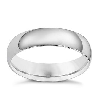 9ct white gold extra heavy weight court ring 5mm - Product number 8507686