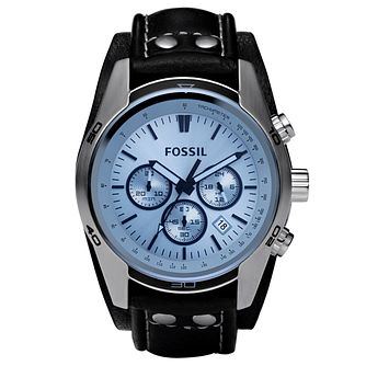 Fossil Men's Chronograph Black Leather Cuff Watch - Product number 8529876