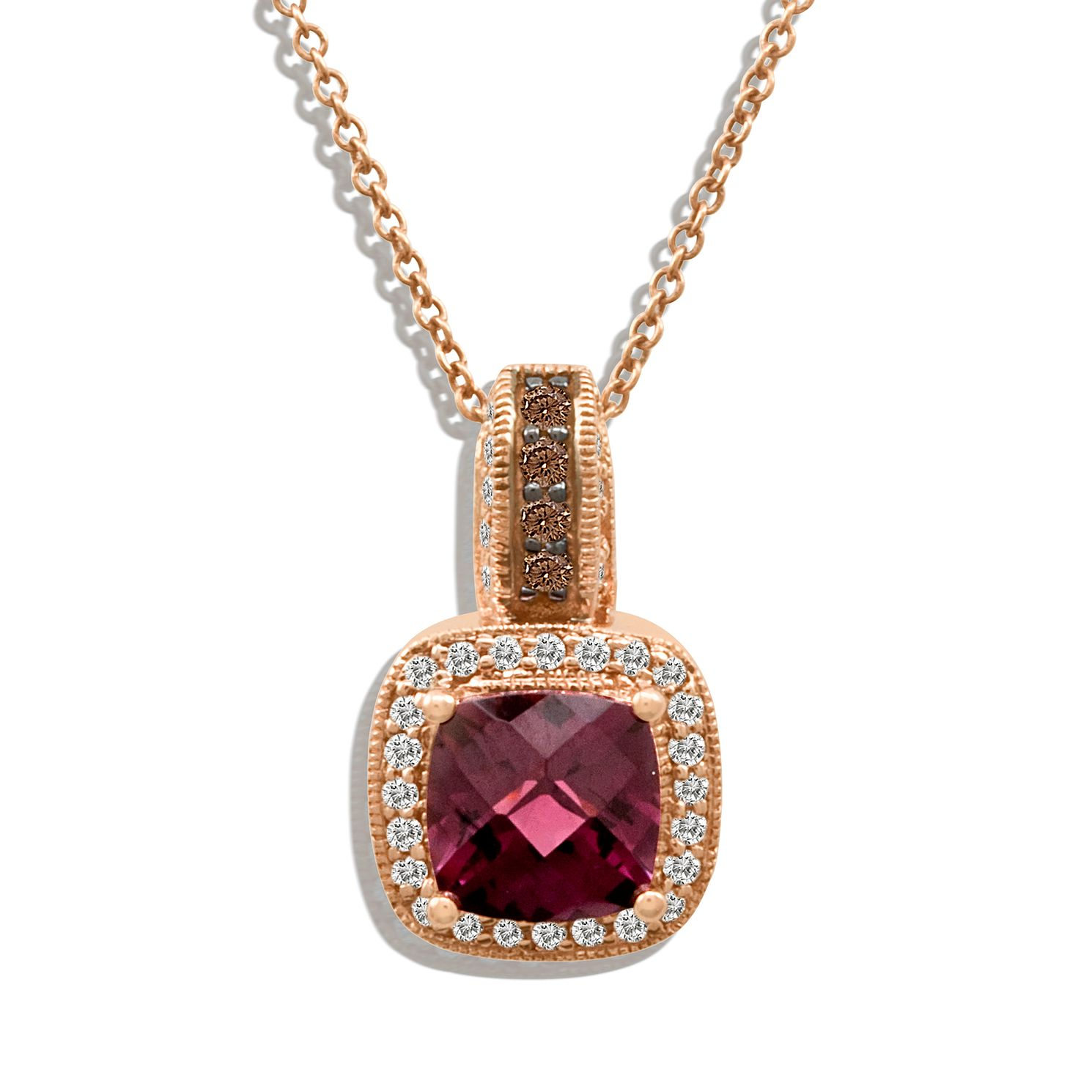 Le Vian 14ct Strawberry Gold Garnet & 0.20ct Diamond Pendant - Product number 8540845