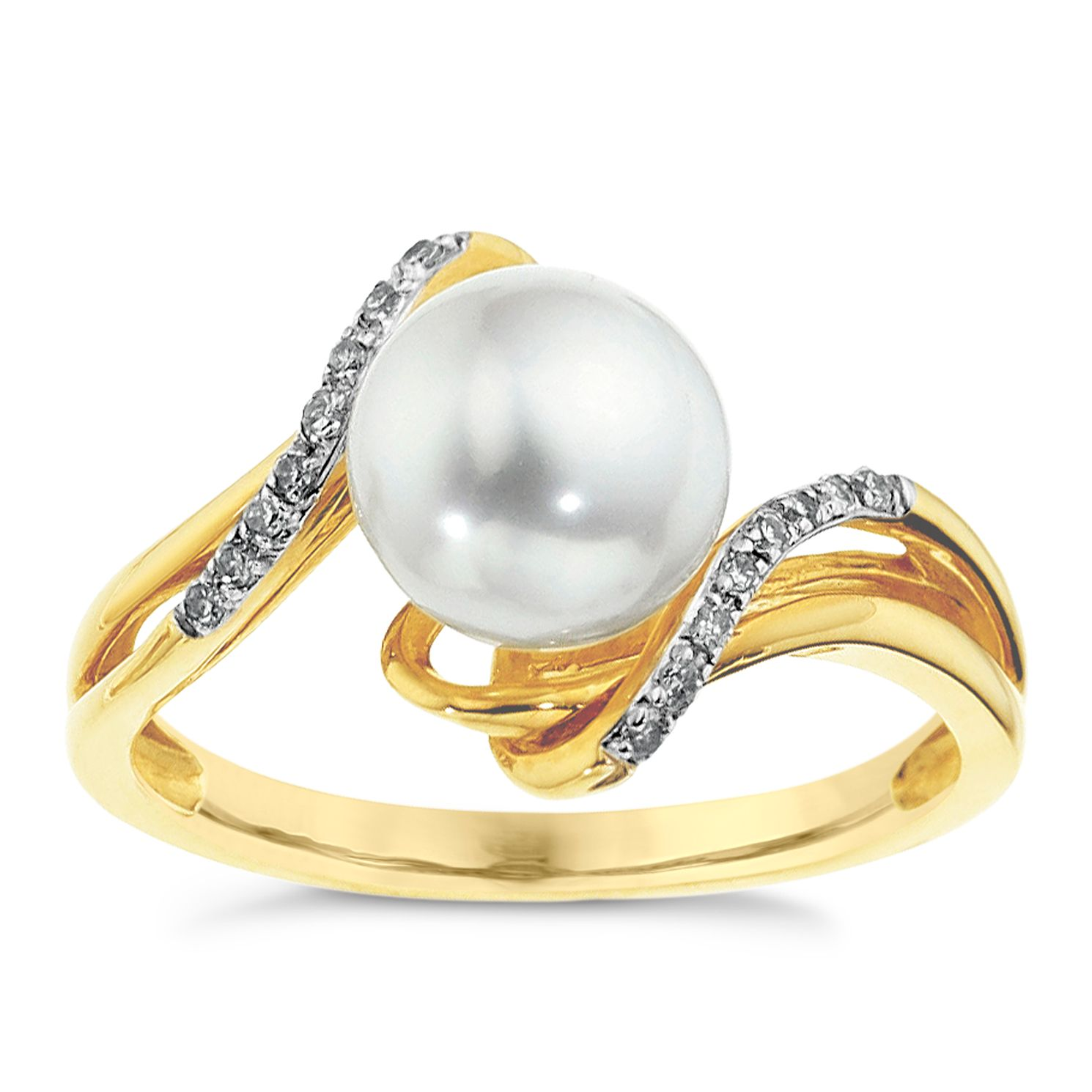 9ct Yellow Gold Cultured Freshwater Pearl & Diamond Ring - Product number 8545014