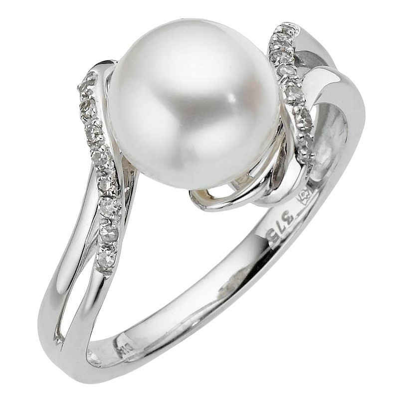 9ct White Gold Cultured Freshwater Pearl & Diamond Ring - Product number 8547319