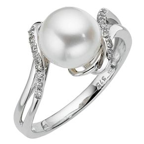 9ct White Gold Diamond & Cultured Freshwater Pearl ring - Product number 8547319