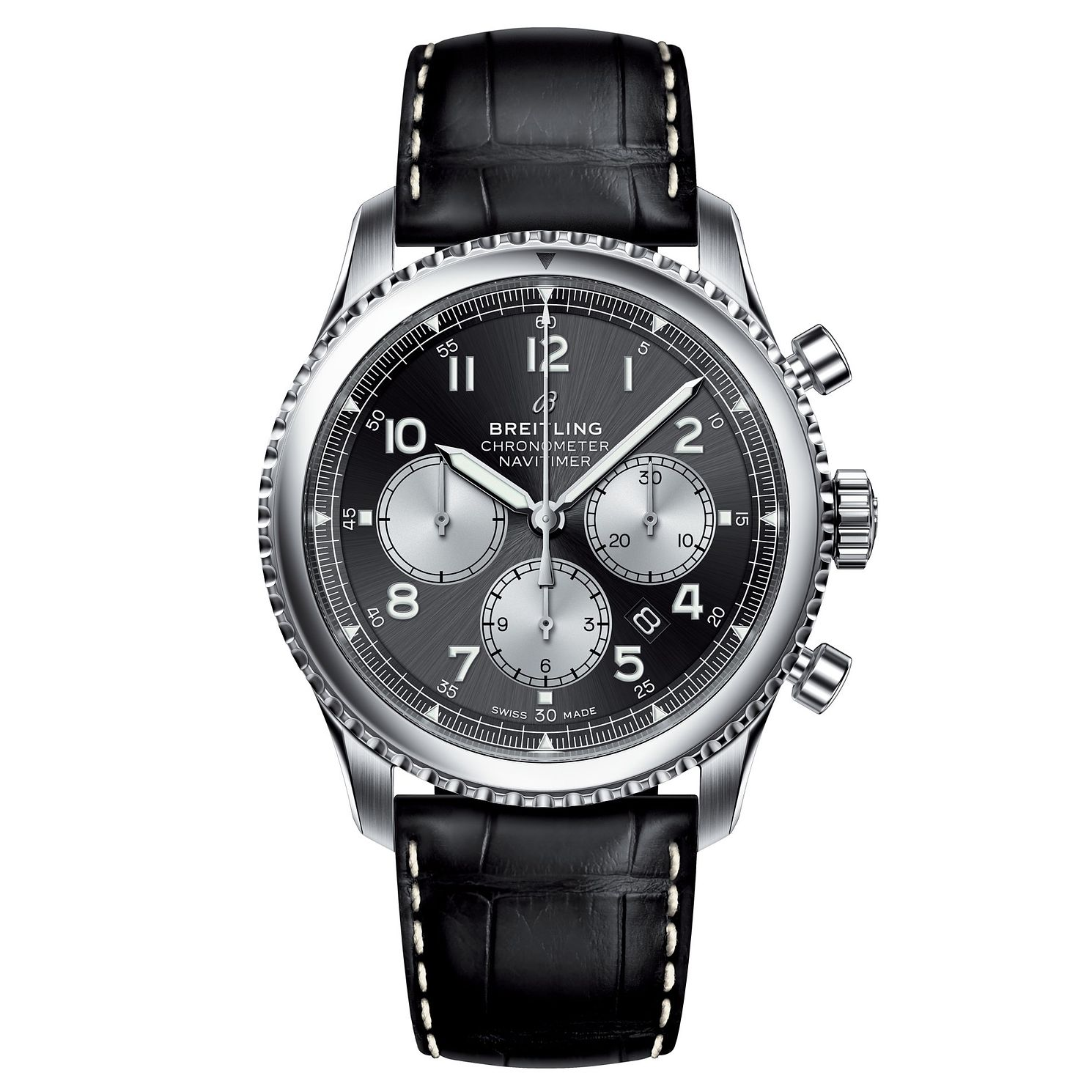 Breitling Aviator 8 B01 Men's Black Leather Strap Watch - Product number 8559848