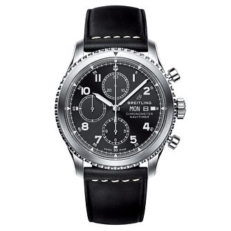 Breitling Aviator 8 Men's Chronograph Leather Strap Watch - Product number 8560773