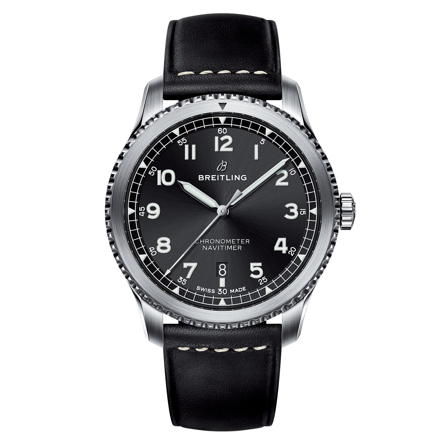 Breitling Aviator 8 Men's Black Leather Strap Watch - Product number 8561338