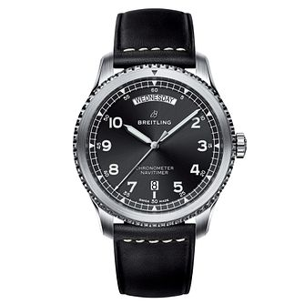 Breitling Aviator 8 Day & Date Men's Leather Strap Watch - Product number 8561370