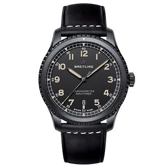 Breitling Aviator 8 Men's Black Leather Strap Watch - Product number 8561419