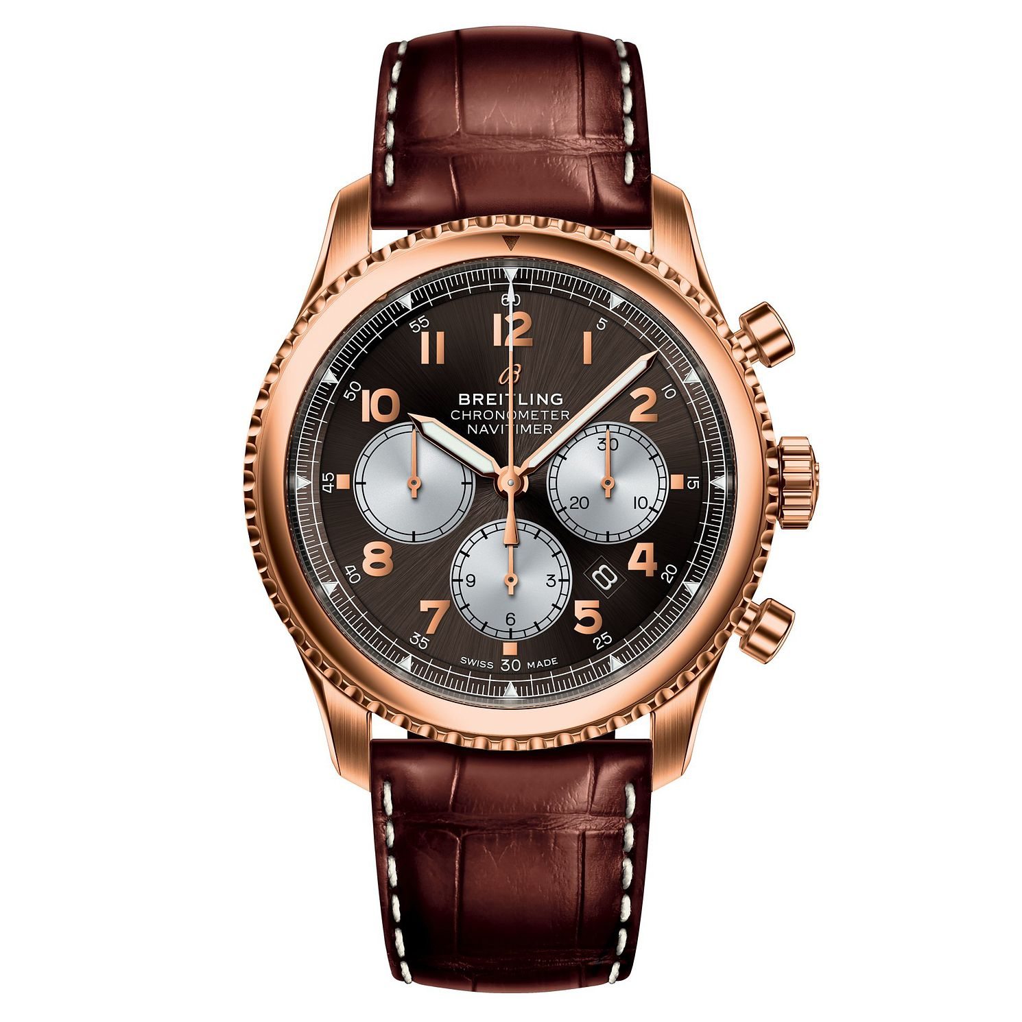 Breitling Aviator 8 B01 Men's Brown Leather Strap Watch - Product number 8561494