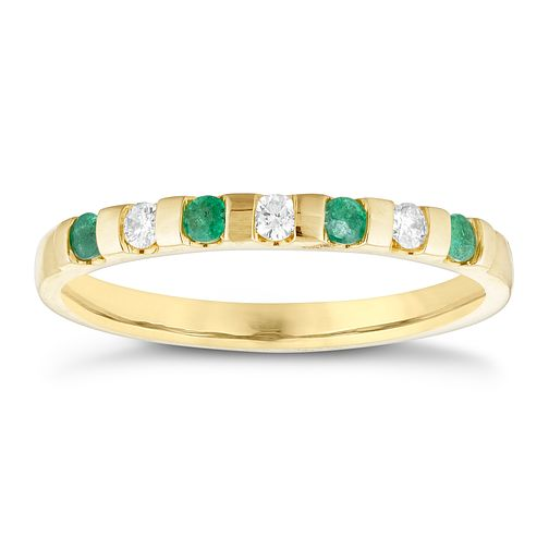 9ct Yellow Gold Emerald and Diamond Eternity Ring - Product number 8565341