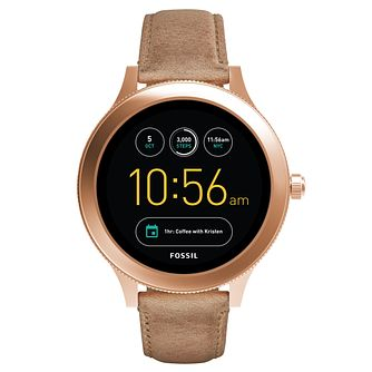 Fossil Q Ladies' Venture Rose Gold Tone Leather Smartwatch - Product number 8590559