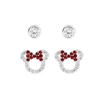 761f74686 Disney Children's Minnie Mouse Silver & Crystal Earring Set - Product  number 8590702