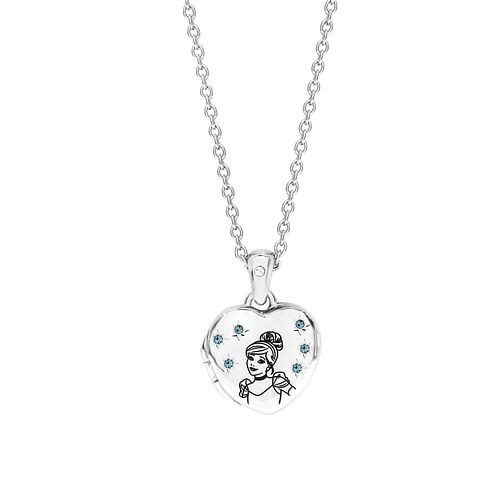 Disney Children's Cinderella Silver Crystal Heart Locket - Product number 8590788