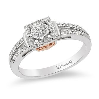 Enchanted Disney 9ct White Gold 1/4 Carat Diamond Belle Ring - Product number 8593582