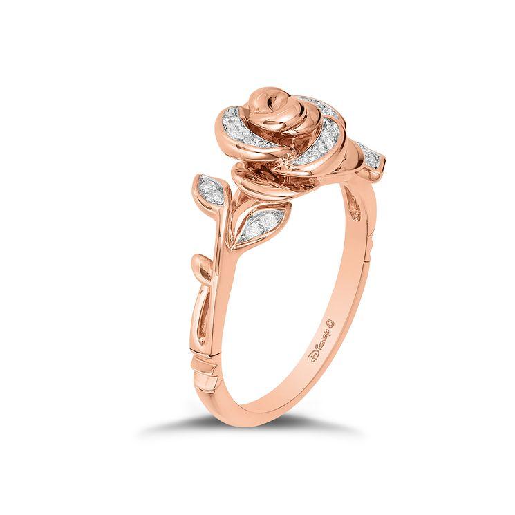Enchanted Disney 9ct Rose Gold 1 10 Carat Diamond Belle Ring