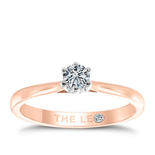 Leo Diamond 18ct Rose Gold 1/5ct CT I-P1 Diamond Ring - Product number 8596425