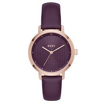 DKNY Modern Ladies' Rose Gold Tone Purple Dial Strap Watch - Product number 8599459