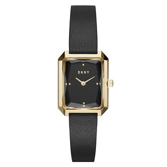DKNY Cityscape Ladies' Yellow Gold Tone Black Strap Watch - Product number 8599475