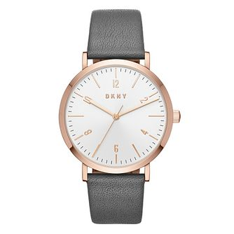 DKNY Minetta Ladies' Rose Gold Tone Grey Strap Watch - Product number 8599505