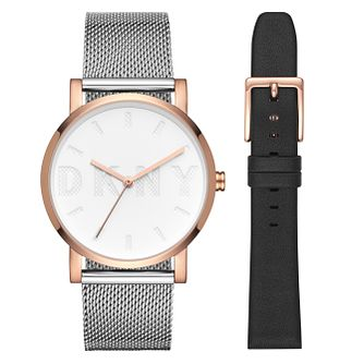 Dkny Soho Ladies' Two Colour Watch Black Strap Set - Product number 8599521