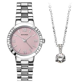 Sekonda Ladies' Stainless Steel Bracelet Watch & Pendant Set - Product number 8599629