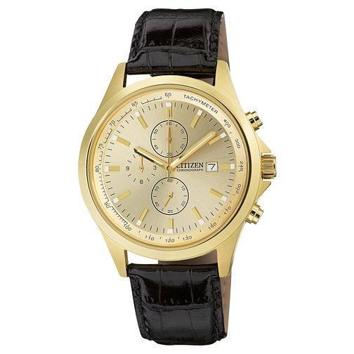 Citizen Men's Black Leather Strap Watch - Product number 8600171