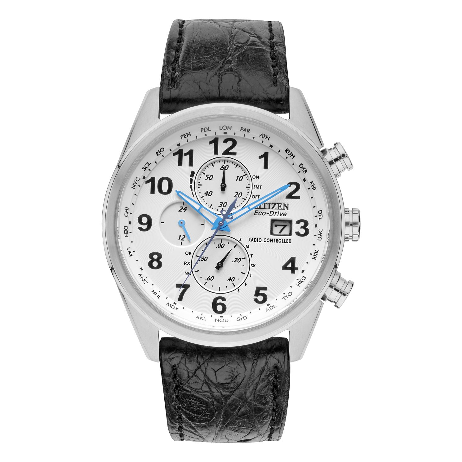 Citizen Eco Drive Men S Black Leather Strap Watch At8038 08a