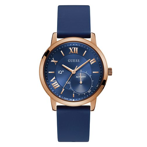 Guess Active IQ Ladies' Blue Silicone Strap Smartwatch - Product number 8600422