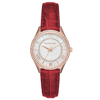 Michael Kors Lauryn Ladies' Rose Gold Tone Red Strap Watch - Product number 8600449