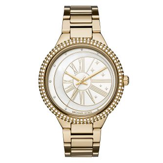 Michael Kors Jaryn Ladies' Yellow Gold Tone Stone Set Watch - Product number 8600562
