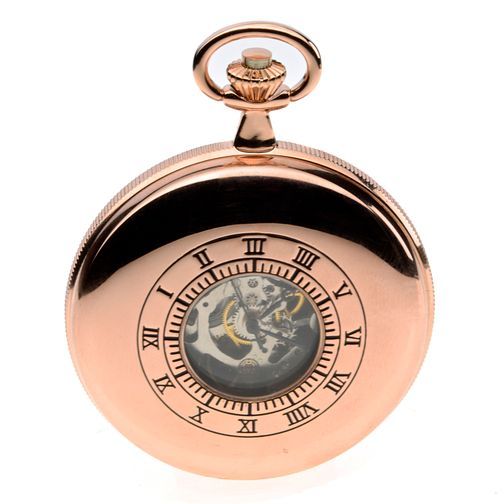 Jean Pierre Men's Rose Gold Plated Skeleton Pocket Watch - Product number 8600899