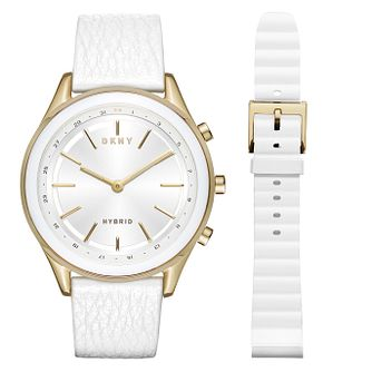 DKNY Minute Ladies' Yellow Gold Tone Hybrid Smartwatch - Product number 8600929