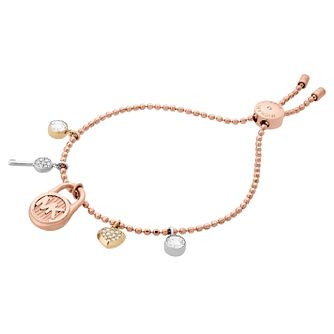 Michael Kors Ladies' Rose Gold Tone Charm Bracelet - Product number 8601127
