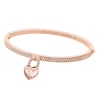 Michael Kors Ladies' Rose Gold Tone Heart Bangle - Product number 8601232