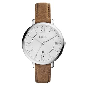 Fossil Jacqueline Ladies' Round Brown Leather Strap Watch - Product number 8601585