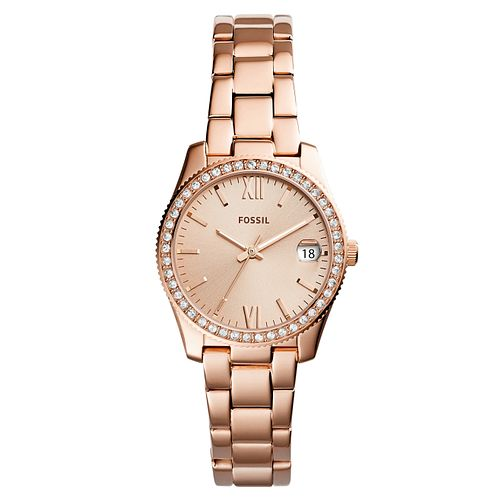 Fossil Scarlette Mini Ladies' Rose Gold Tone Stone Set Watch - Product number 8601682