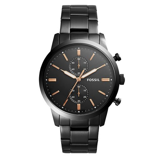 Fossil Townsend Men's Black Ion Plated Chronograph Watch - Product number 8601747