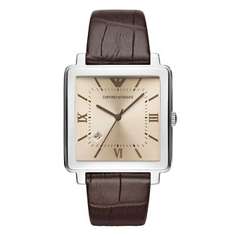 Emporio Armani Men's Square Brown Strap Watch - Product number 8602050