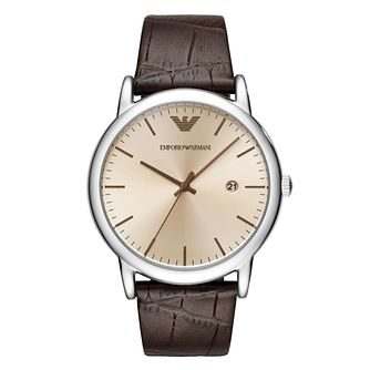 Emporio Armani Men's Stainless Steel Brown Strap Watch - Product number 8602085